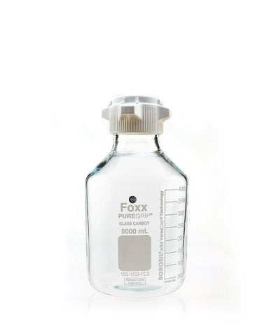 PUREGRIP® Glass Carboys - Round - Clear - 83B VersaCap® - 5 L - 1/EA