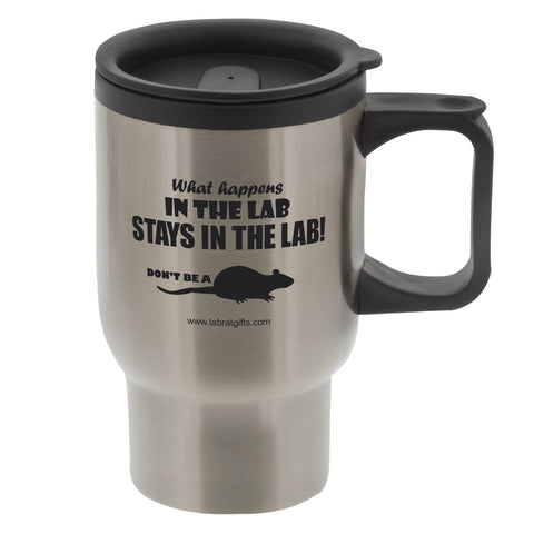 """What Happens in the Lab"" - 16oz Travel Mug  - LabRatGifts"