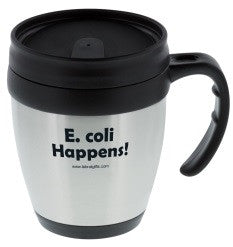 """E. coli Happens"" - 14oz Travel Mug  - LabRatGifts"