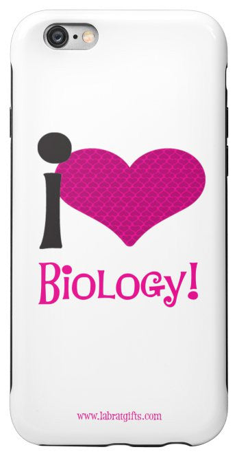 """I ♥ Biology"" (pink) - Protective iPhone 6/6s Case Default Title - LabRatGifts - 2"