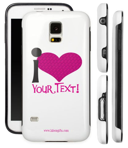 """I ♥ (Your Text)"" - Custom Protective Samsung Galaxy S5 Case (pink)  - LabRatGifts - 1"
