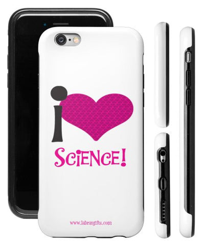 """I ♥ Science"" (pink) - Protective iPhone 6/6s Case  - LabRatGifts - 1"