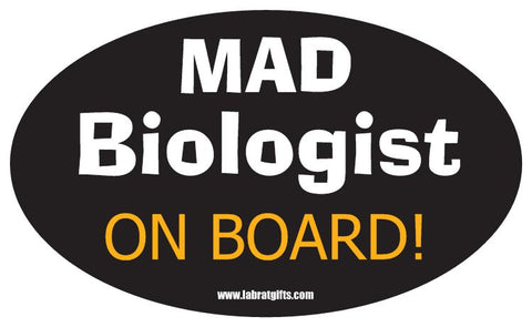 """Mad Biologist On Board"" - Oval Sticker Default Title - LabRatGifts"