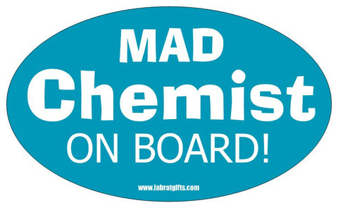 """Mad Chemist On Board"" - Oval Sticker Default Title - LabRatGifts"