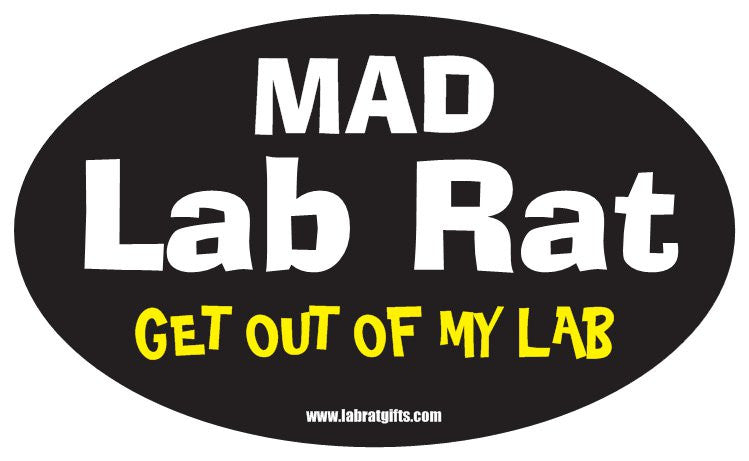 """Mad Lab Rat Get Out of my Lab"" - Oval Sticker Default Title - LabRatGifts"