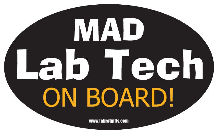 """Mad Lab Tech on Board"" - Oval Sticker Default Title - LabRatGifts"