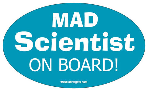 """Mad Scientist on Board"" - Oval Sticker Default Title - LabRatGifts"