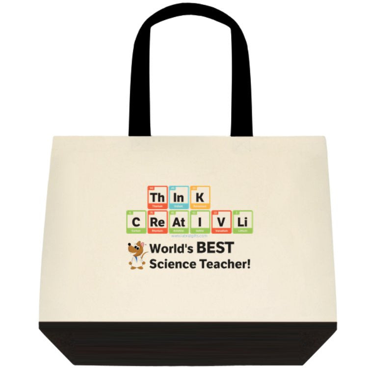 """ThInK CReAtIVLi - World's Best Science Teacher"" - Tote Bag Default Title - LabRatGifts - 1"