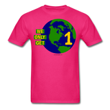 """We Only Get 1 Earth"" - Men's T-Shirt - fuchsia"