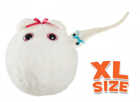 Egg Cell XL Size & Mini Magnetic Sperm Cell - GIANTmicrobes® Plush Toy  - LabRatGifts - 1