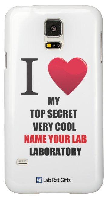 """I ♥ My Top Secret Very Cool (Name Your Lab) Laboratory"" - Custom Samsung Galaxy S5 Case Default Title - LabRatGifts - 2"