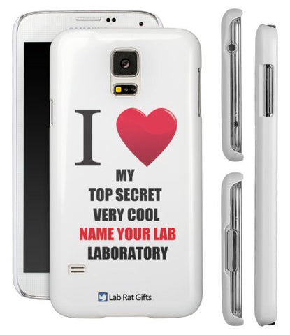 """I ♥ My Top Secret Very Cool (Name Your Lab) Laboratory"" - Custom Samsung Galaxy S5 Case  - LabRatGifts - 1"