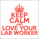 """Keep Calm and Love Your Lab Worker"" (red) - Men's T-Shirt  - LabRatGifts - 14"