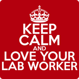 """Keep Calm and Love Your Lab Worker"" (white) - Men's T-Shirt  - LabRatGifts - 12"
