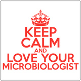 """Keep Calm and Love Your Microbiologist"" (red) - Men's T-Shirt  - LabRatGifts - 14"