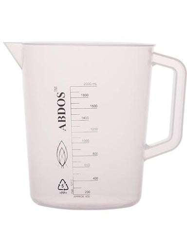 Abdos Printed Beakers with Handle, Polypropylene (PP) 2000ml, 4/CS
