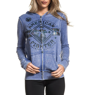Massachusetts Zip Hood - Womens Hooded Sweatshirts - American Fighter