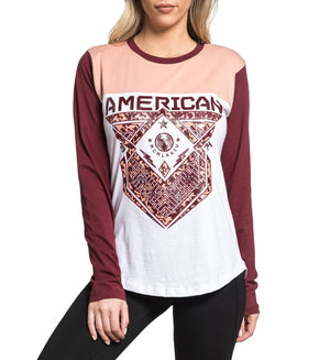 Riverdale 3/4 Panel Tee - Womens Long Sleeve Tees - American Fighter