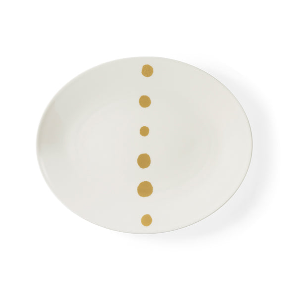 Golden Pearls Oval Platter, 32cm