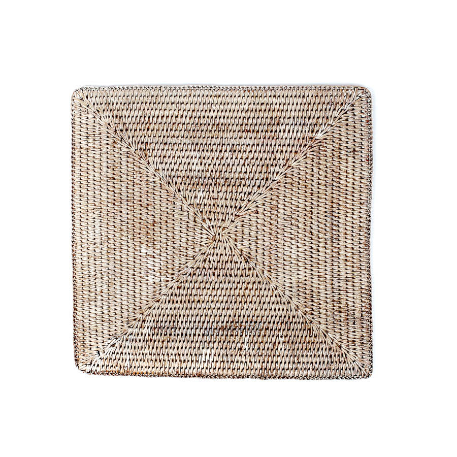 Wicker Placemat, Square Whitewash