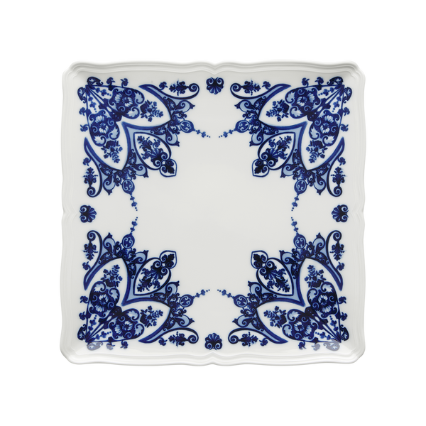 Babele Square Flat Plate, Blue
