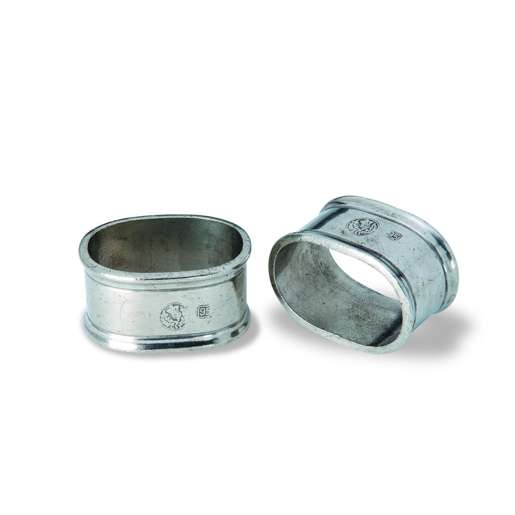 Pewter Oval Napkin Ring, Set/2