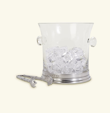 Crystal Ice Bucket w/Handles and Tongs