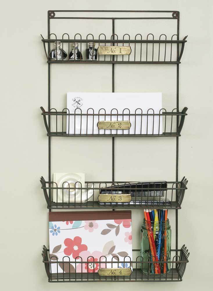 French Country Metal Wall Organizer