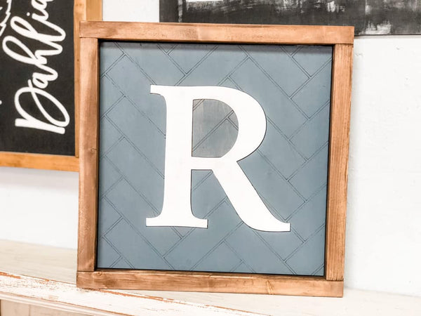 Unfinished Herringbone Letter Framed Sign