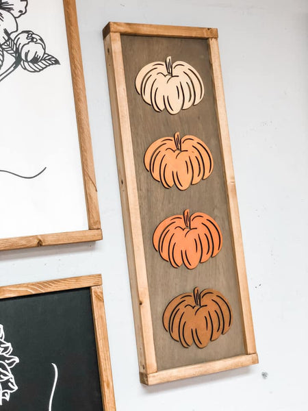Unfinished Four Pumpkins 3D Framed Sign