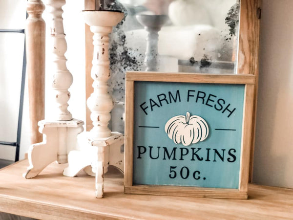 "Unfinished ""Farm Fresh Pumpkins"" 3D Framed Sign"