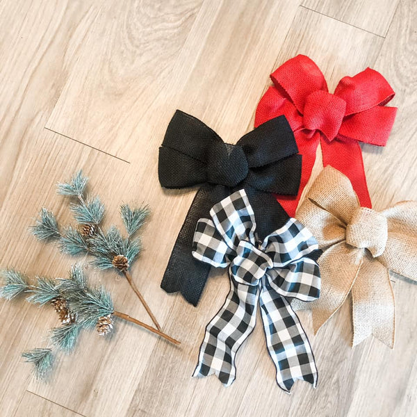 ADD-ON Bow with holiday greenery