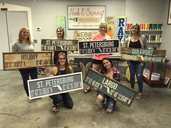 April 7th 6:30pm NEW Latitude/Longitude Plank Wood Signs
