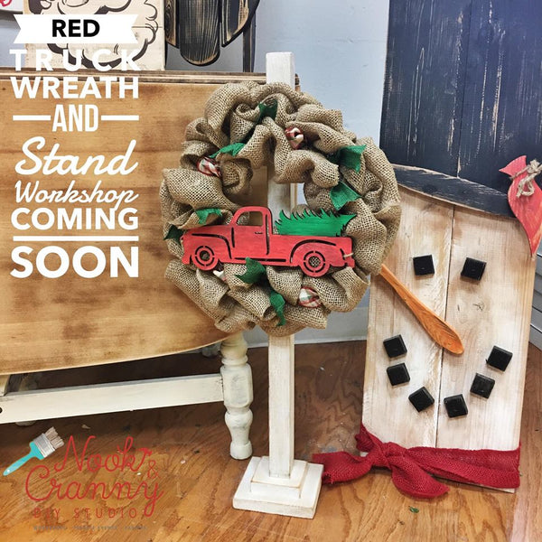 October 27th 6:30pm NEW Mini Burlap Wreath {with wood truck cut out!} and Stand