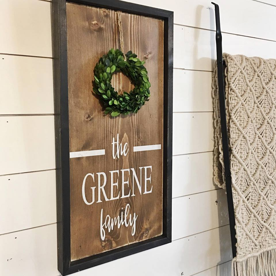 March 16th 6:30pm NEW Boxwood Framed Family Sign