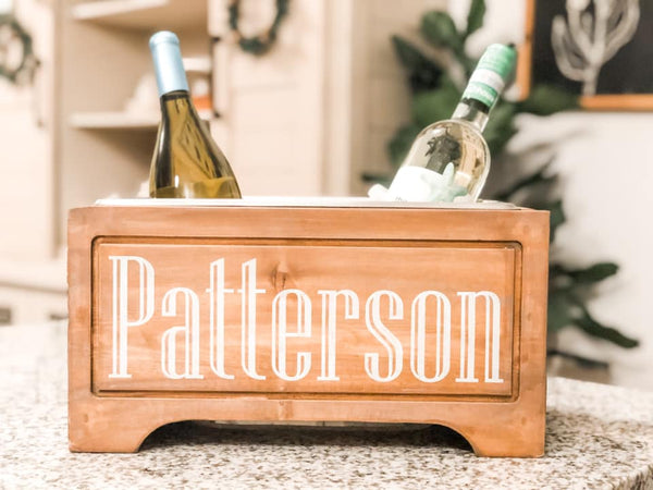 February 29th 6:30pm NEW Personalized Wood Trough Wine Chiller