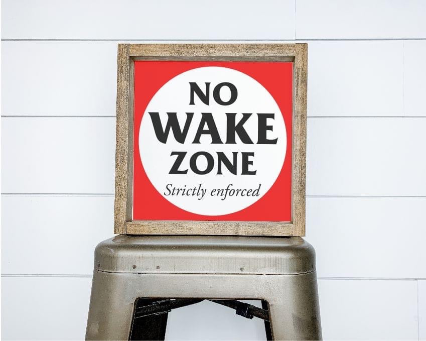 """No Wake Zone"" Framed Sign Kit {unfinished}"