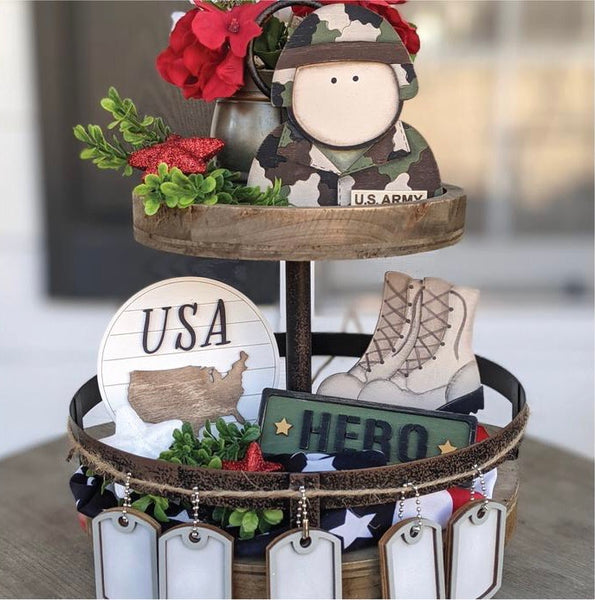 Military Tiered Tray Kit {unfinished}