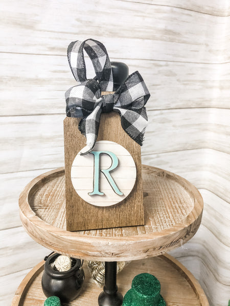 Personalized Interchangeable Mini Tiered Tray Tag Kit {unfinished}