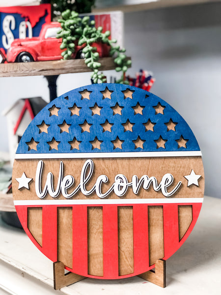 Patriotic WELCOME Round Sign Kit {unfinished}