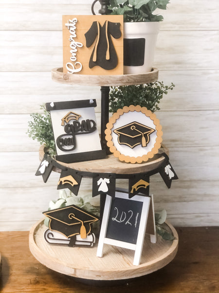 Graduation Tiered Tray Decor Kit (unfinished)