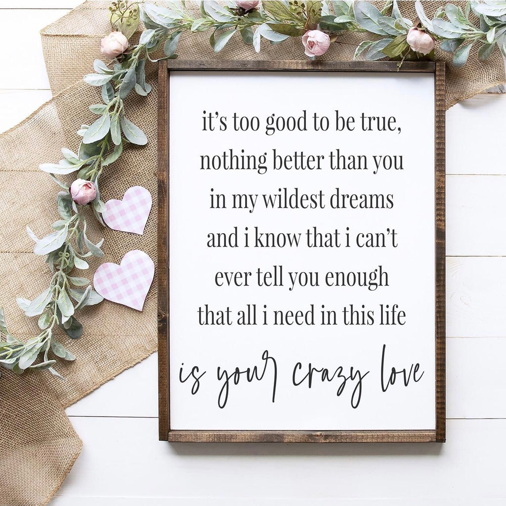 """It's Too Good To Be True"" Framed Sign Kit {unfinished}"