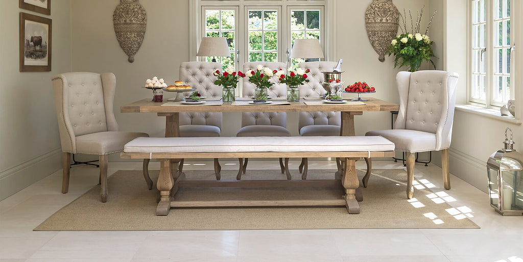 Belvedere dining table and bench