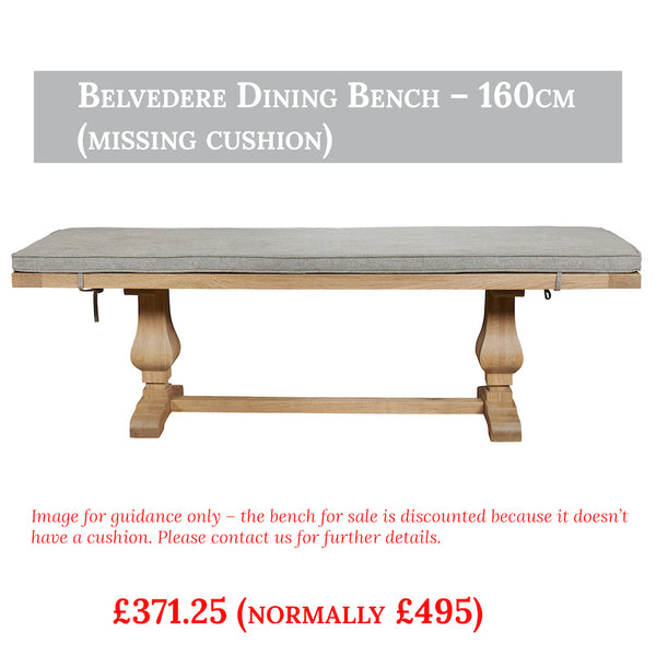 Belvedere dining bench reduced