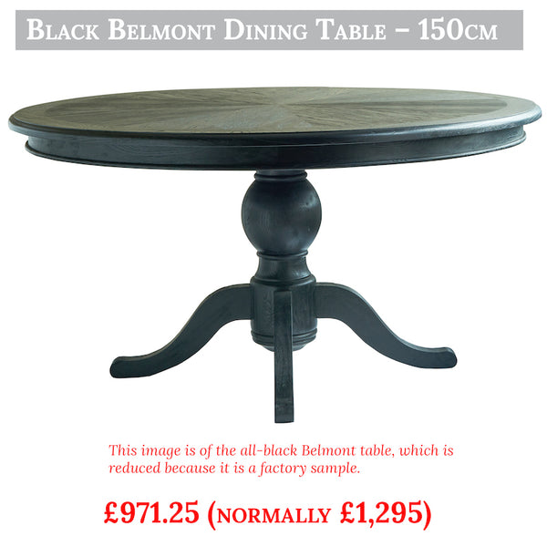 Black Belmont dining table clearance