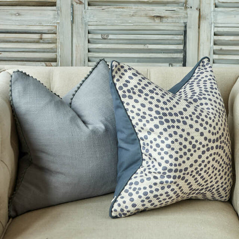 Grey linen and grey swirl patterned luxury cushions