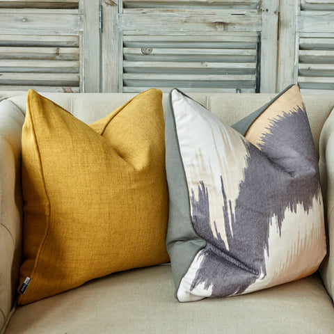 Mustard yellow and marble design luxury cushions
