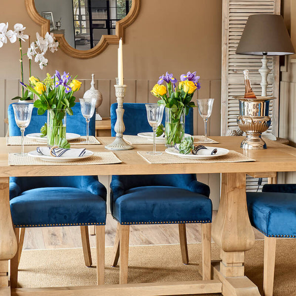Our Marina weathered oak mirror in the dining area could add to the conviviality of a get-together