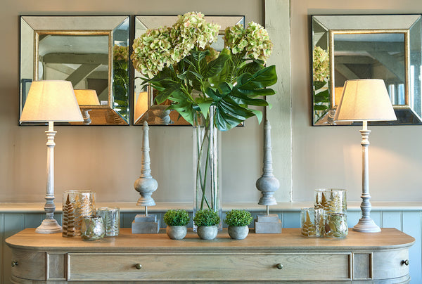 Large weathered oak Belmont sideboard with a beautifully symmetrical display