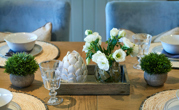 Beautifully laid Belvedere weathered oak dining table at La Residence Interiors showroom